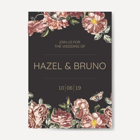 Diseños florales de invitación temática