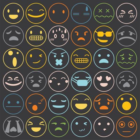 Emoji-emoticons geplaatst de uitdrukkings vectorillustratie van de gezichtsuitdrukking