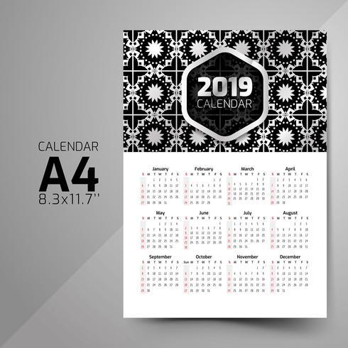 Modèles de calendrier de modèle noir et blanc
