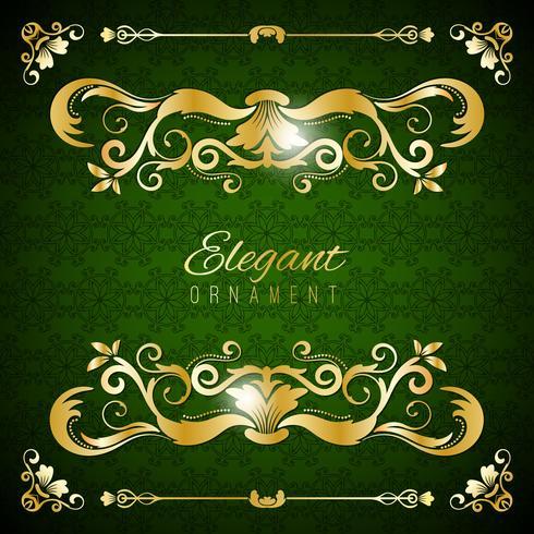 Carte d'invitation vintage. Fond de luxe vert avec cadre doré. Modèle pour la conception