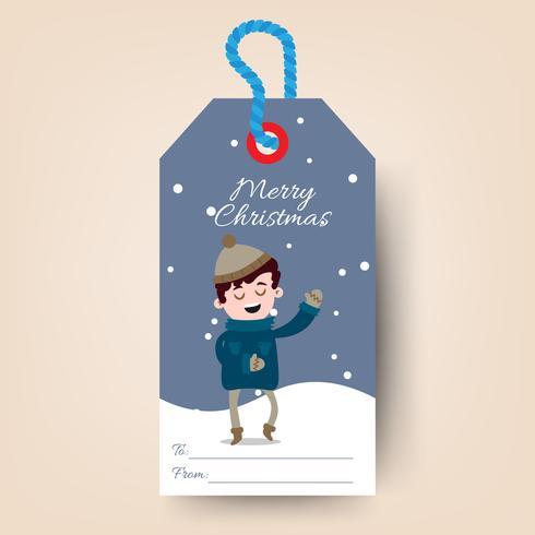 Etiquetas de Navidad con niño de dibujos animados cantar