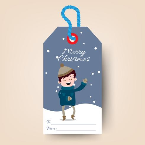 Christmas tags with cartoon boy sing
