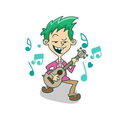 Cartoon character, Boy playing guitar