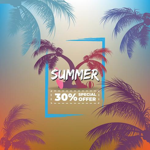 Arrière-plans tropicaux d'été avec des palmiers