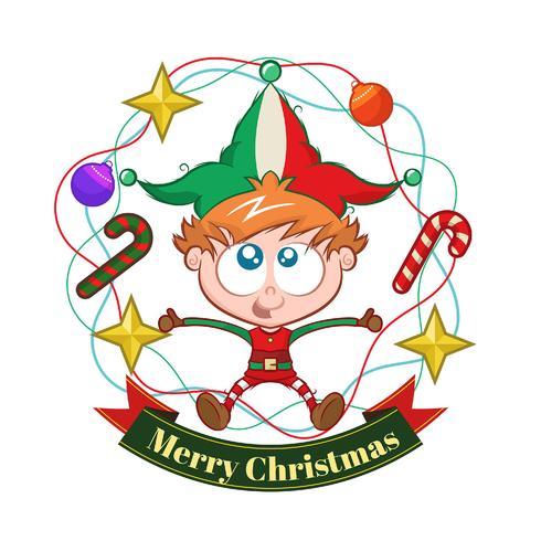 Sfondo di Natale con il ragazzo elfo