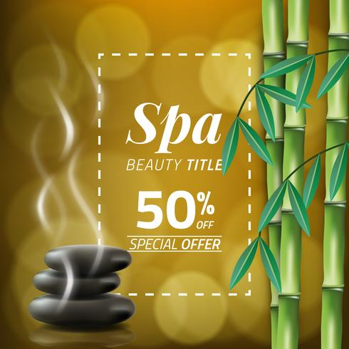 Vector illustration of a blurred style, set for spa treatments with bamboo