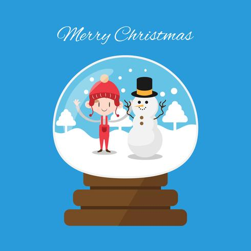 Globe de paysage de Noël hiver avec enfant de Noël et bonhomme de neige