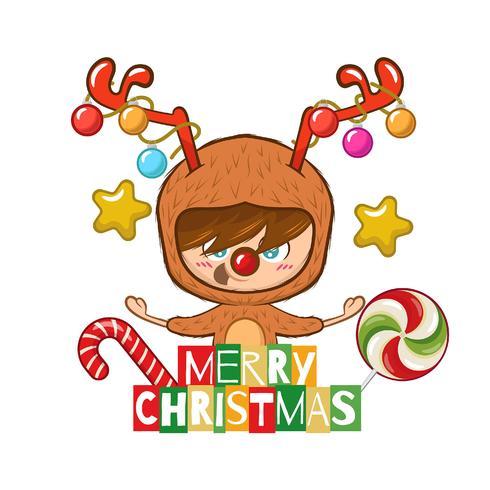 Sfondo di Natale con un ragazzo carino vestito da renna