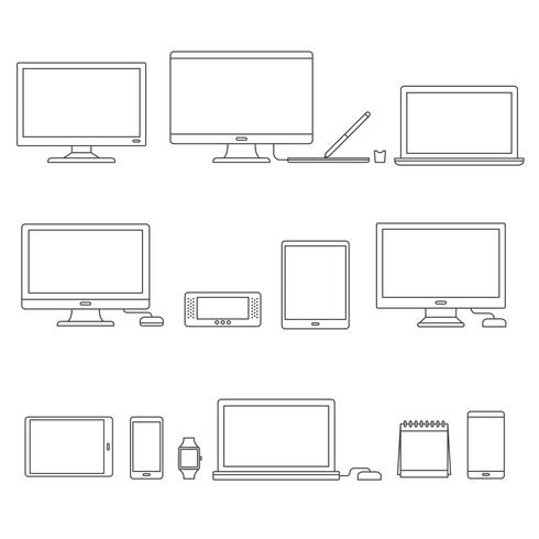 Vector conjunto de dispositivos digitais