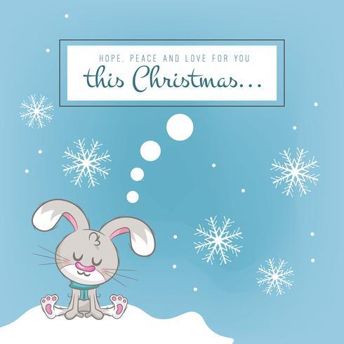 Fondo de Navidad con un lindo conejo.