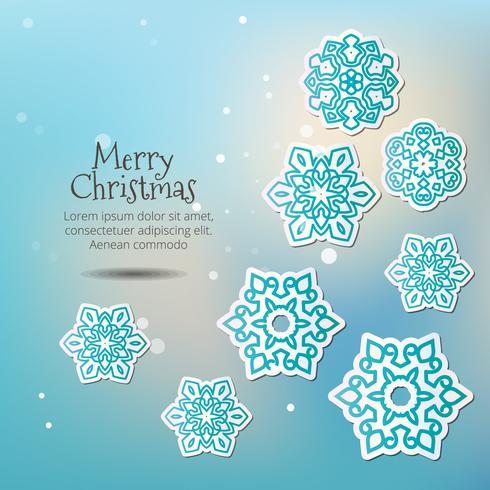 God Jul! Snöflingor med skugga på en blå bakgrund.