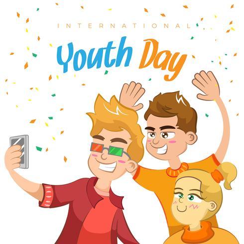 Fondo felice di giorno della gioventù con la gente che si diverte