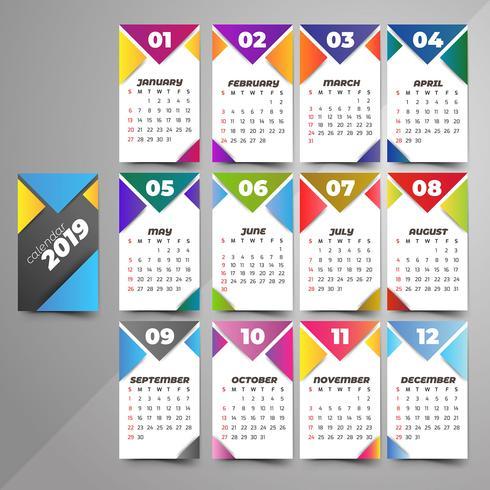 Ano 2019, Calendário Design Bonito