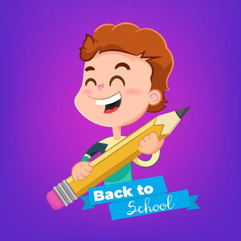 Garçon de la bande dessinée avec un sujet de crayon de retour à l'école