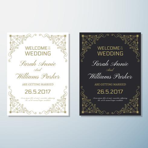 Hochzeits-Einladung Vintage Flyer Hintergrund Design-Vorlage vektor