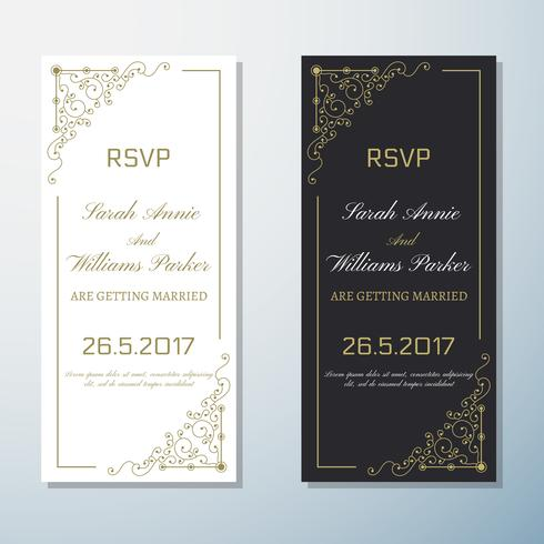 Invitación de boda Vintage flyer fondo diseño plantilla
