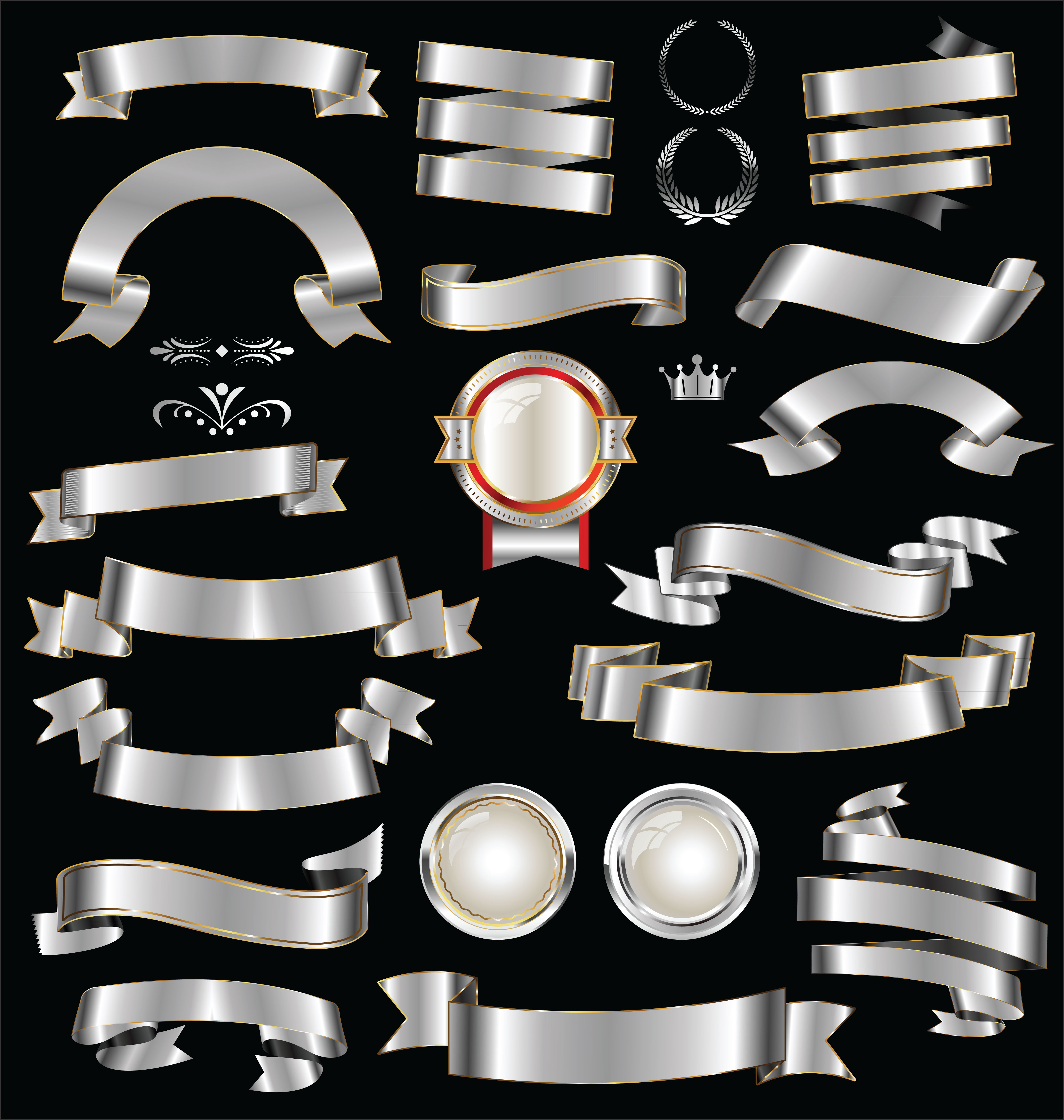 Retro Silver Ribbons, Badges And Labels