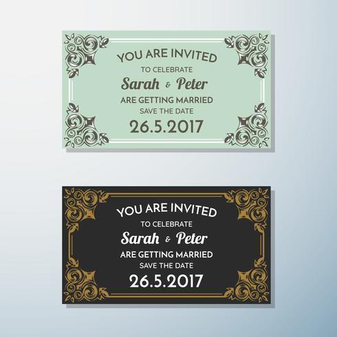Invitación de boda Vintage flyer fondo diseño plantilla vector