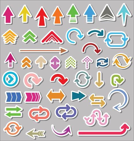 Conjunto de vectores de formas de flecha aislado sobre fondo gris