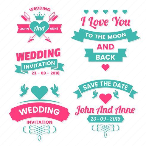 Rótulo de vetor Vintage retrô de casamento