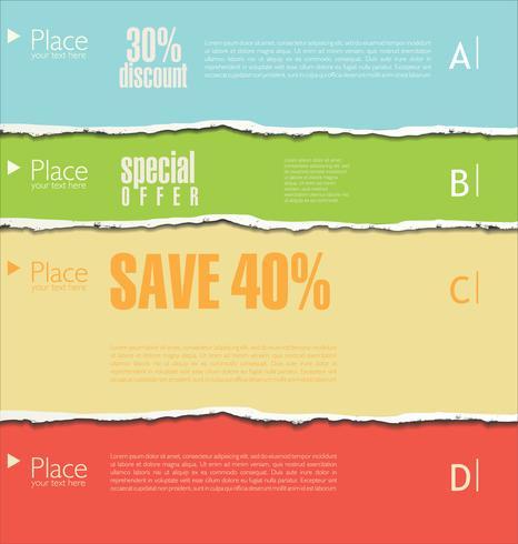 Gescheurd papier kleurrijke achtergrond vectorillustratie vector