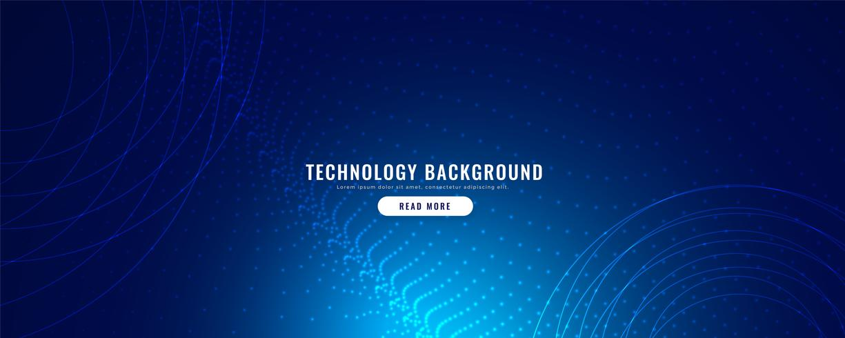 blaue Technologiefahne mit Partikeleffekt