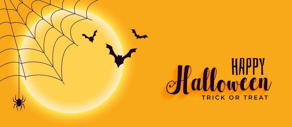 lycklig halloween banner med spindelväv och flygfladder