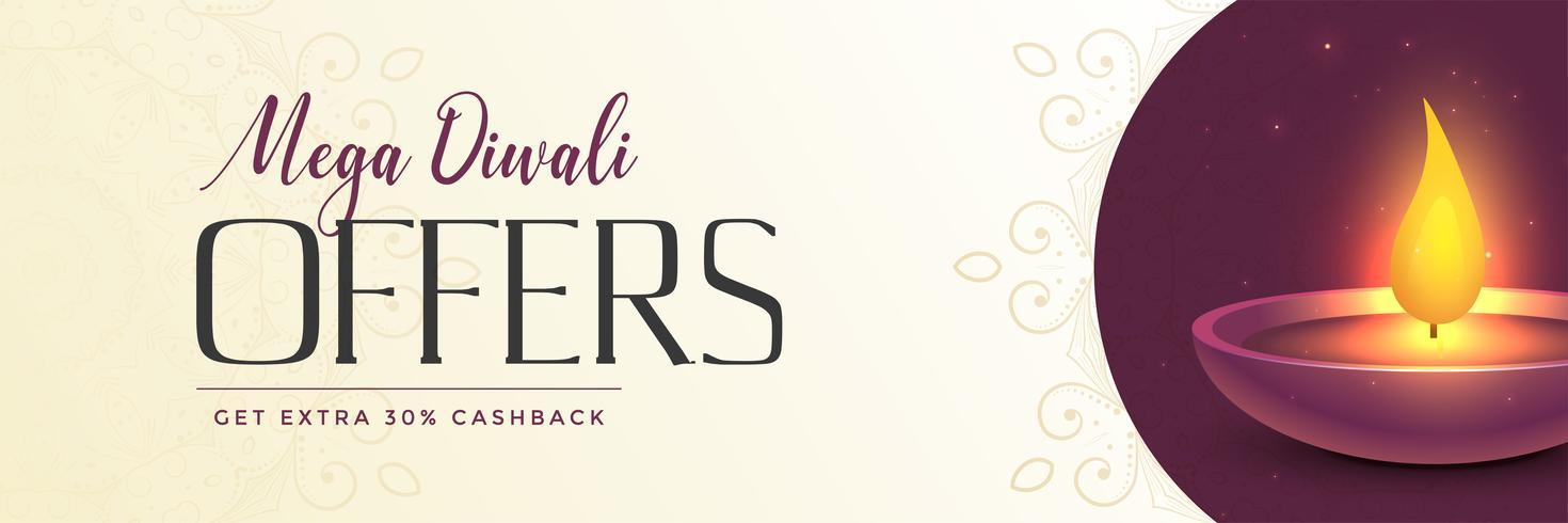 modern mega diwali försäljning banner med glänsande diya design