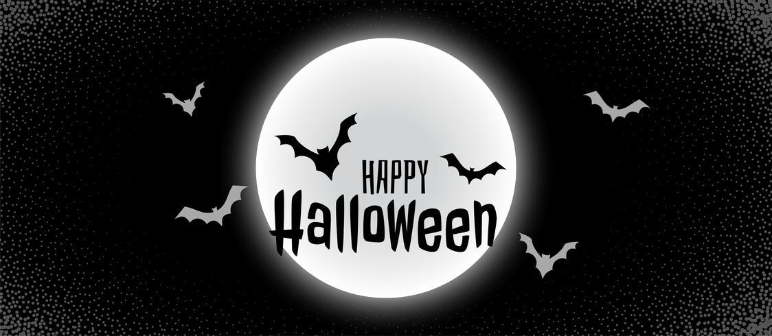 läskigt svart halloween banner med måne och flugor fladdermus