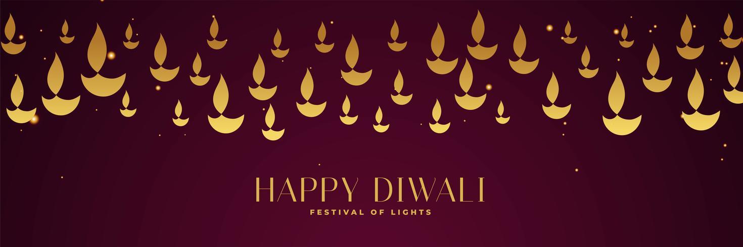 Glad diwali festival banner med guld diya i olika storlekar