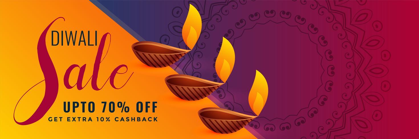 Elegante diseño de banner de descuento y venta de festival de diwali hindú