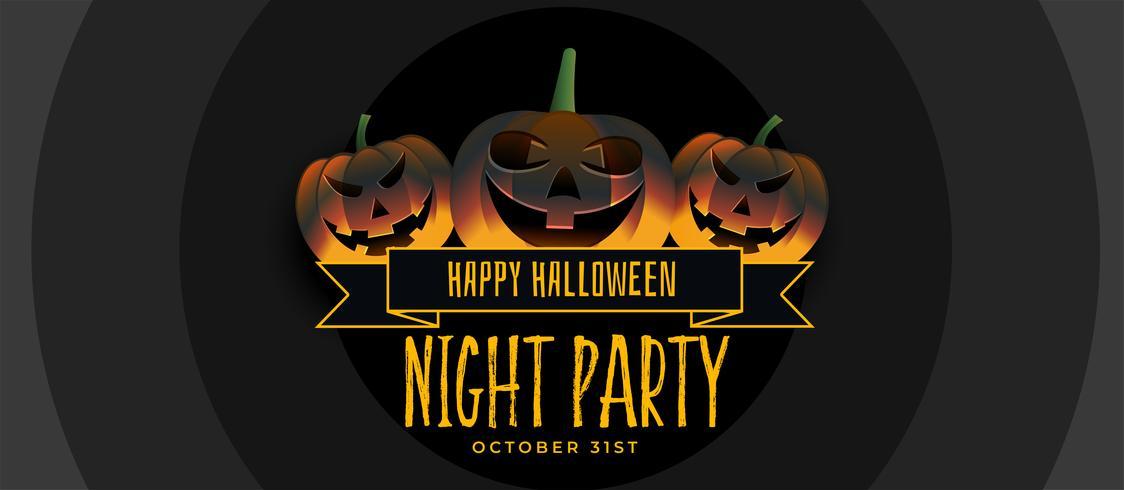 tre leende halloween pumpa party banner design
