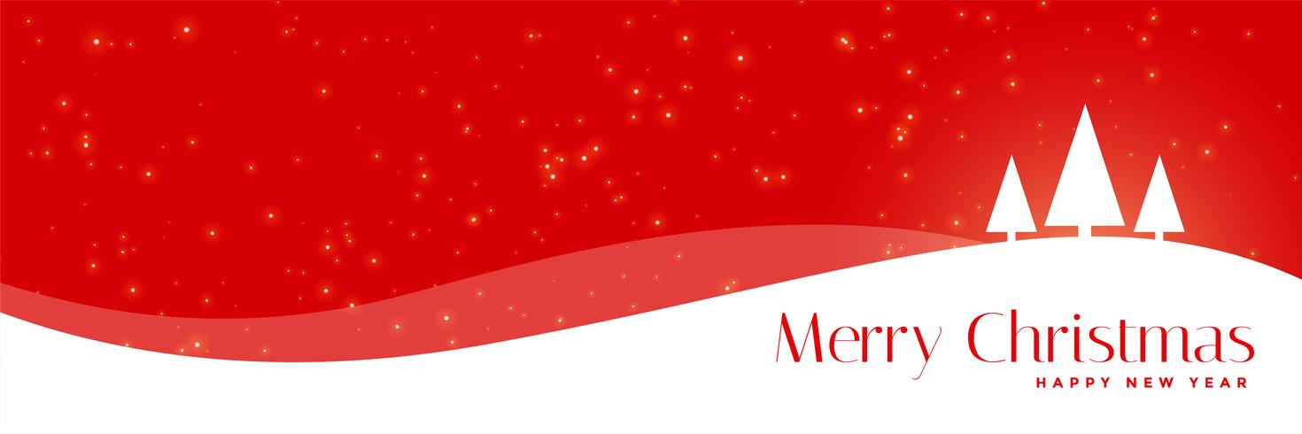 bandera roja de Navidad con árboles