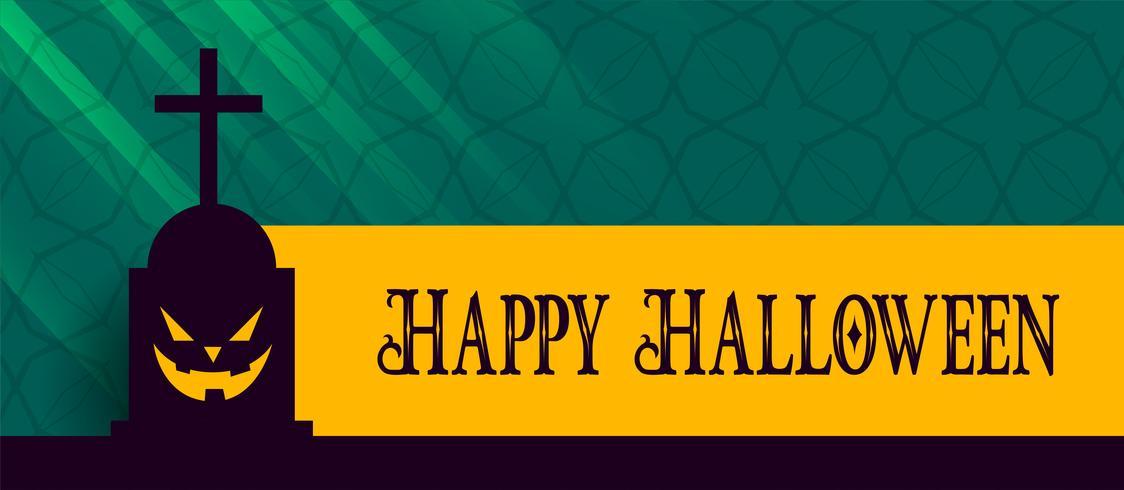 felice banner di halloween con tomba spaventosa e ridendo la faccia fantasma