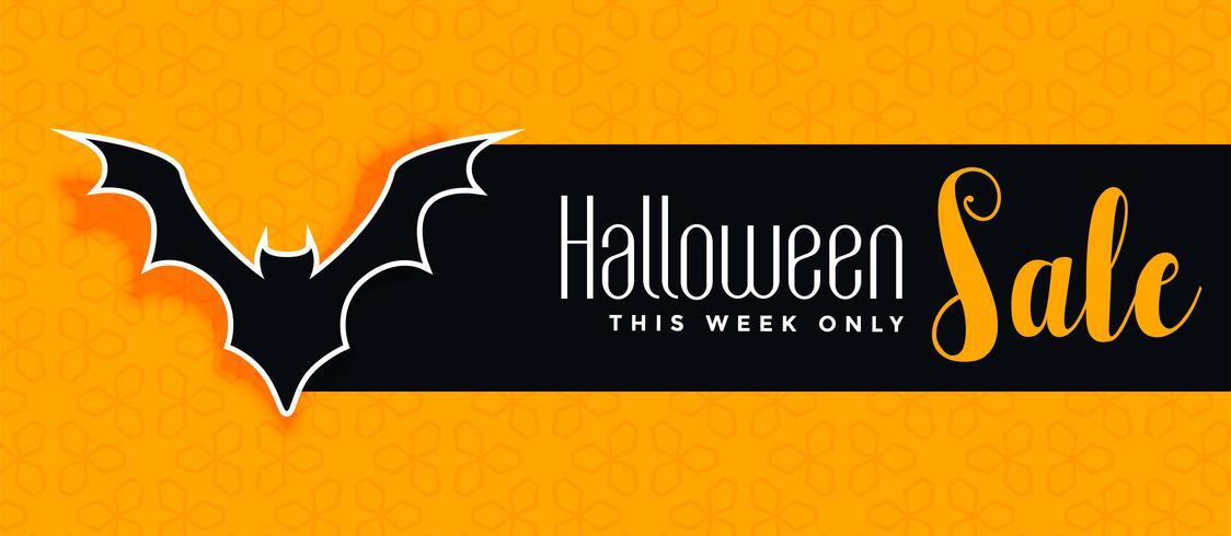 bannière jaune vente Halloween avec la silhouette de chauve-souris