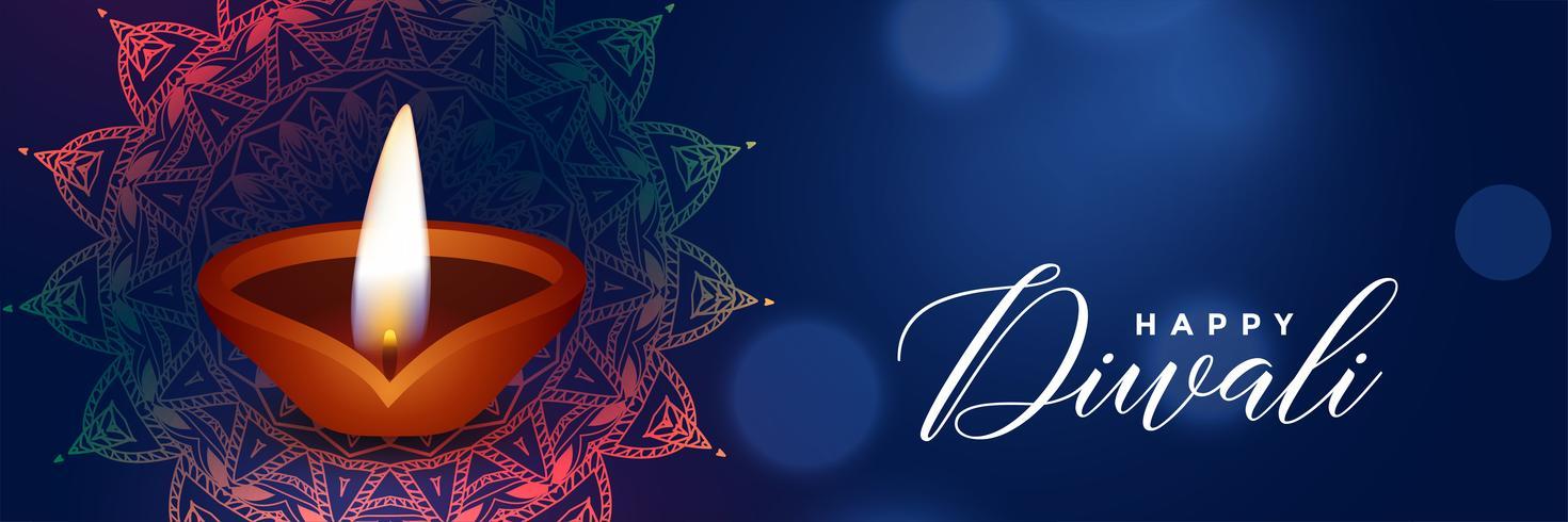 beautiful diwali festival blue banner with diya
