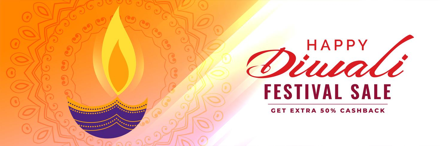 artistic diwali sale banner with diya decoration