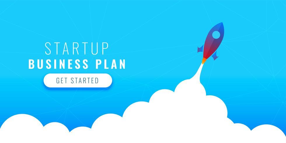 diseño de concepto de plan de negocio de inicio con cohete volador