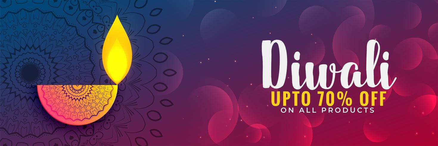 mooie diwali festival disount banner of coupon ontwerp