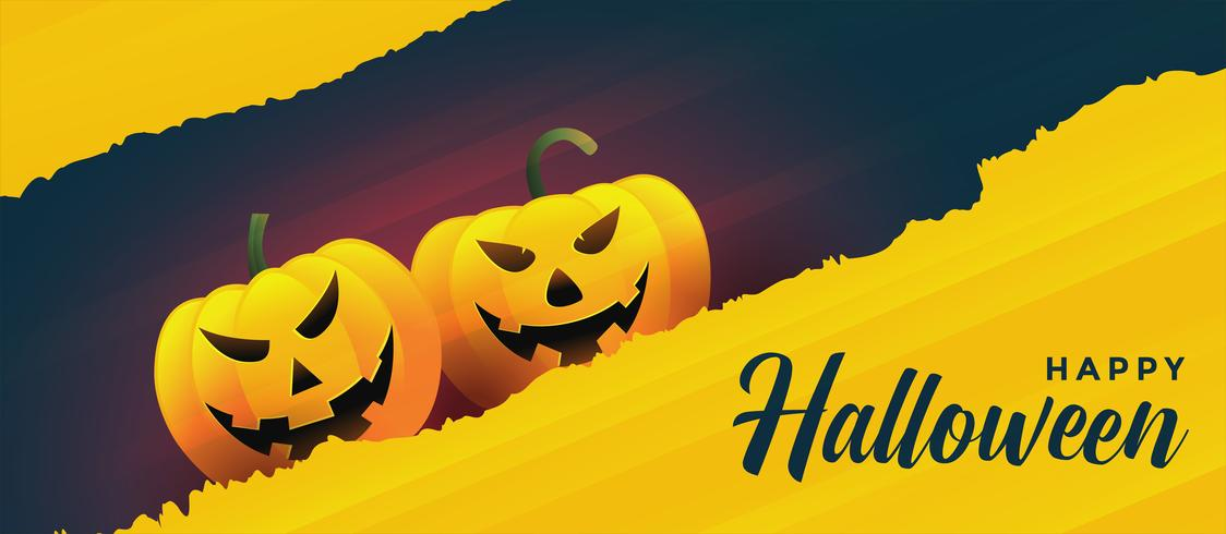 happy halloween laughing pumpkins on yellow banner background