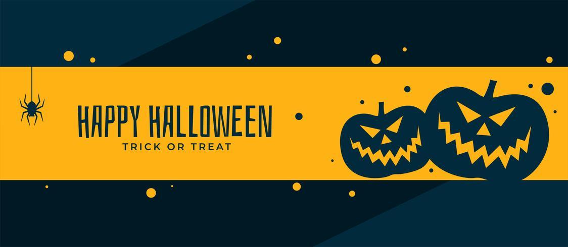 conception de bannière joyeux halloween effrayant citrouille