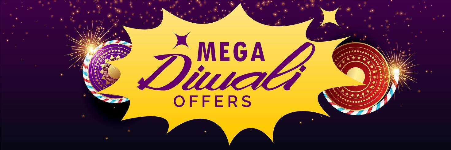 bannière de vente de diwali avec des craquelins
