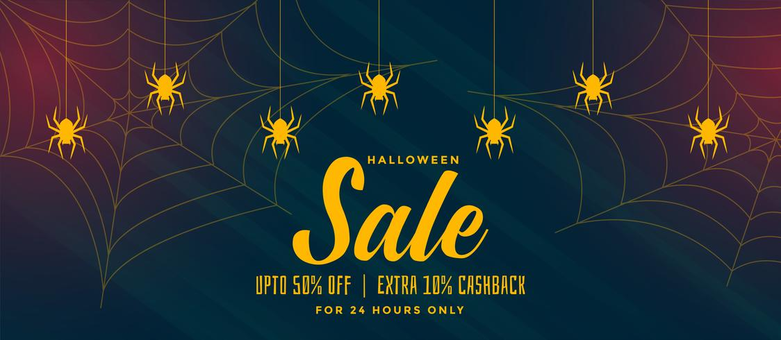 Halloween-Verkaufshintergrund mit Spinnennetz