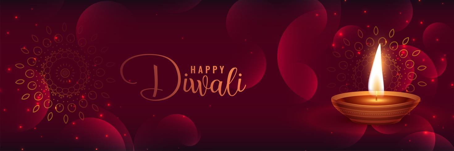 vacker glänsande diwali banner med featival diya