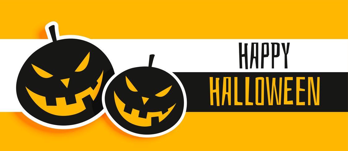 Glad halloween gul banderoll med skrattande pumpor