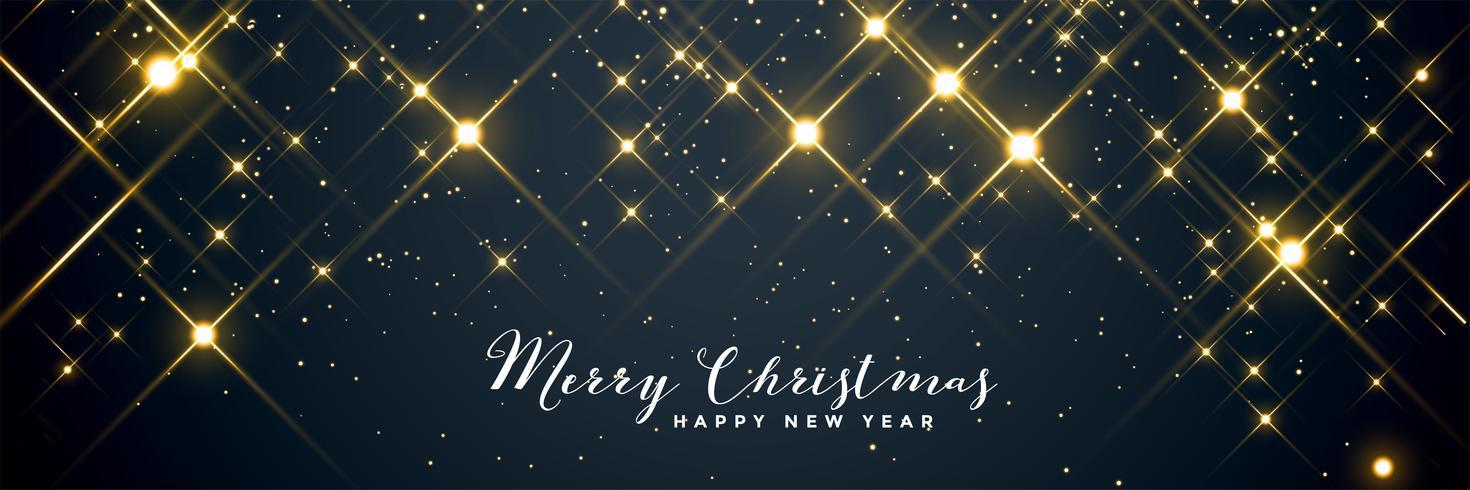 shiny sparkles merry christmas banner design