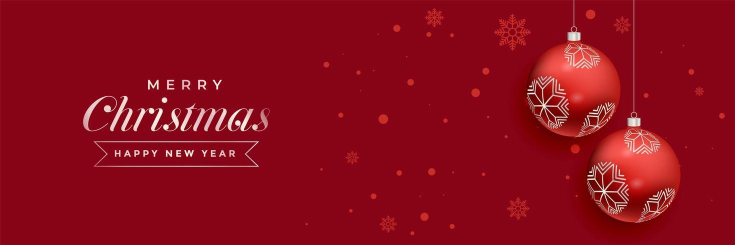 Diseño de banner de decoración de bolas de Navidad rojo