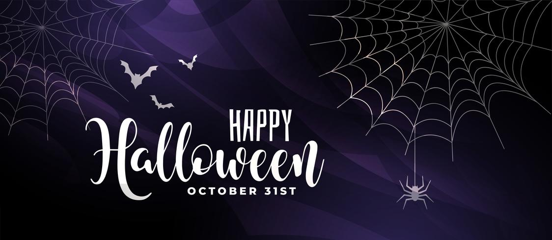 scary halloween background with bats and spider web