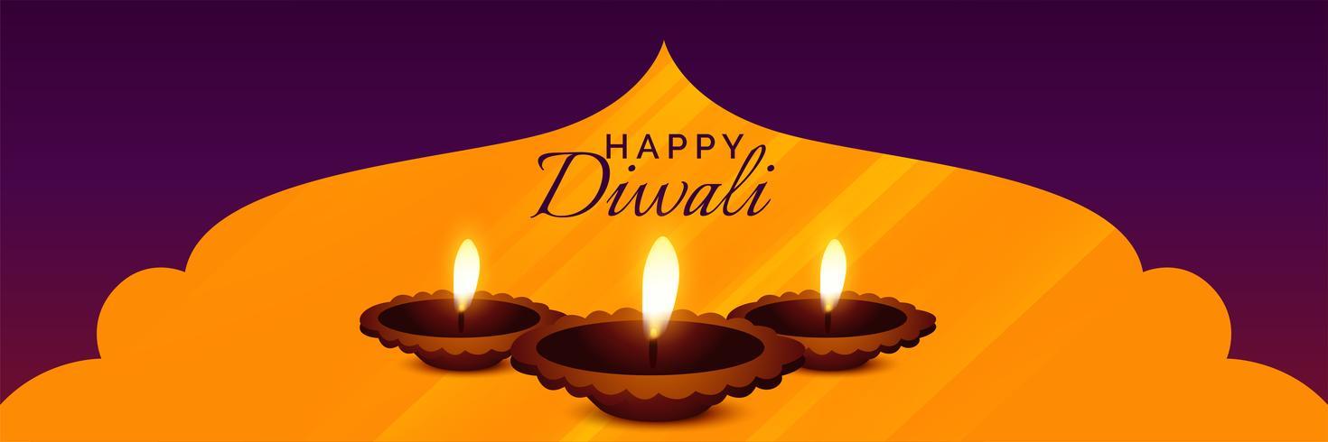 hermoso diseño hindú diwali festival diya banner