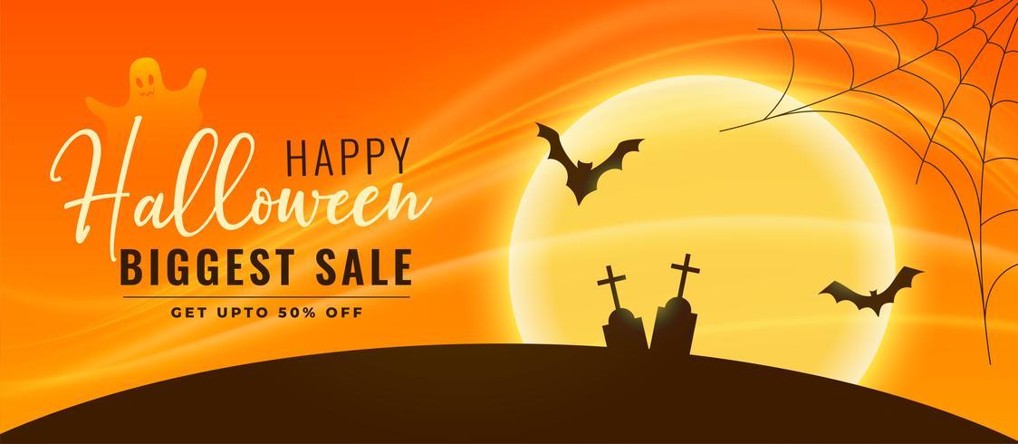 halloween försäljning banner med flygande flaggor och kyrkogård